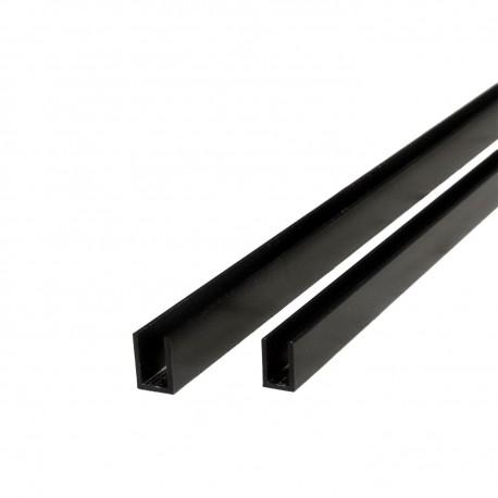 Svartlackerad U-profil för 10mm glas