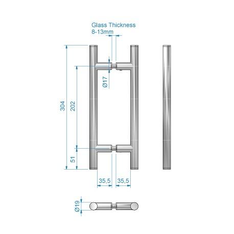 Draghandtag för glasdörrar