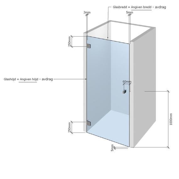 Skiss duschdörr